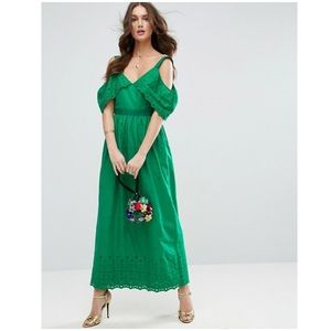 ASOS Cold Shoulder Broderie Maxi Dress